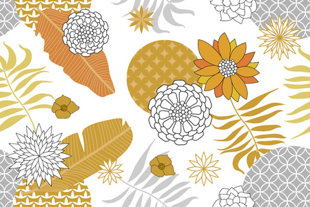 Abstract flowers, ornate circles and palm leaves on white background. Oriental textile collection.