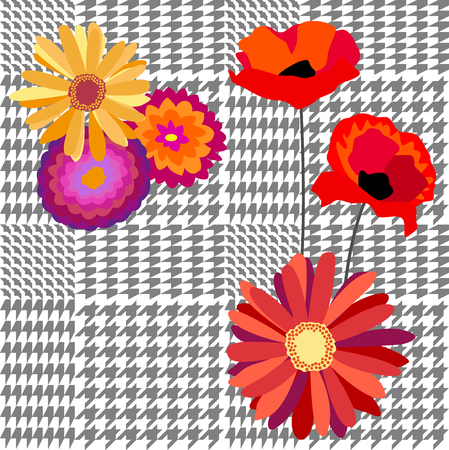 Textile design for school uniform, plaids, scarfs. Red flowers on classical grey background. Illustration