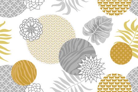Abstract geometric flowers, zebra prints, ornale circles and palm leaves . Oriental textile collection.