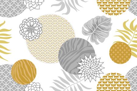 Fleurs géométriques abstraites, imprimés zébrés, cercles ornale et feuilles de palmier. Collection textile orientale.