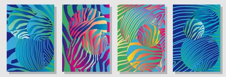 New minimalism design. Expressive stripped animal print.  イラスト・ベクター素材