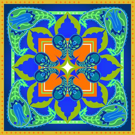 Arabesque ornament and floral elements. Oriental textile collection.