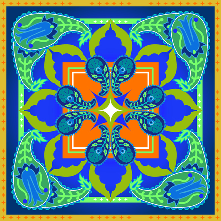 Arabesque ornament and floral elements. Oriental textile collection.