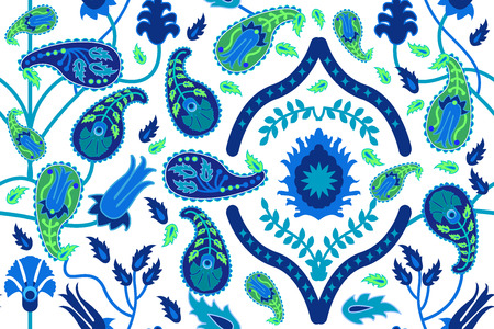 Seamless vector pattern with Damask ornament and paisleys. Oriental collection.