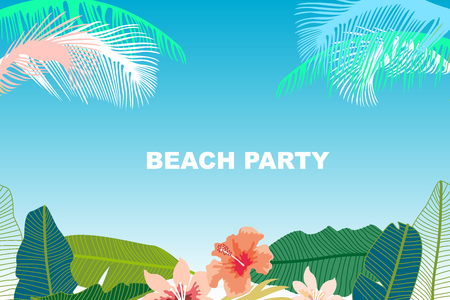 Beach party banner template with flowers on blue background vector beach party banner template with flowers on blue background vector illustration stock vector 97055446 maxwellsz