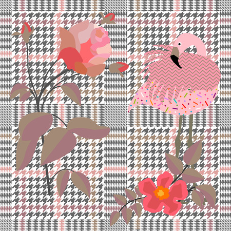 Textile design with pink flamingo and flowers on plaid background. Vector illustration.