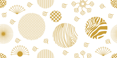 Seamless white and golden pattern with flowers, fans, ornate circles and other geometric elements.