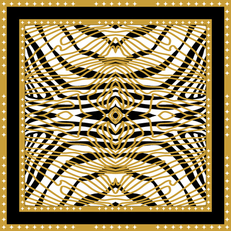 Trendy animal pattern with Art Deco motifs in black, golden, white.