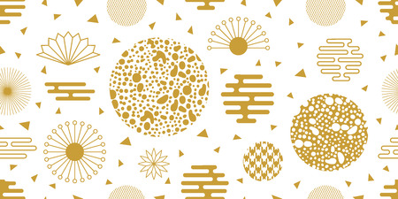 Seamless white and golden pattern with flowers, fans, leopard print and other geometric elements. Vettoriali