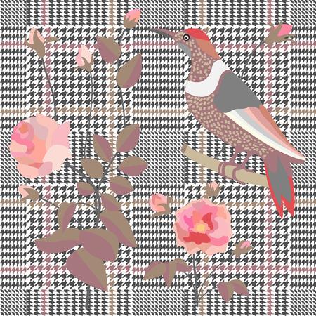 Textile design for school uniform, plaids, scarfs. Red flower on grey background. Vettoriali