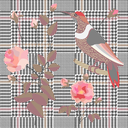 Textile design for school uniform, plaids, scarfs. Red flower on grey background. Illustration