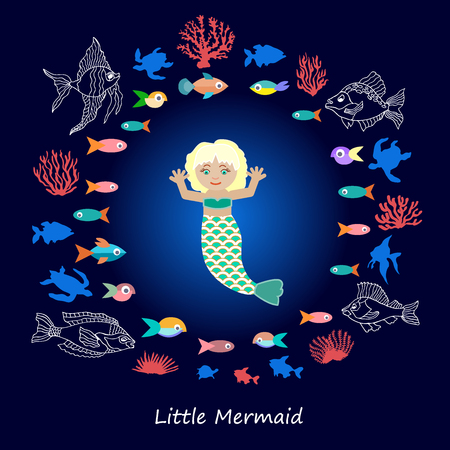 Cartoon collection for children books, cards, textile design and other decorations. Beautiful girl, fishes and corals in the sea. Illustration