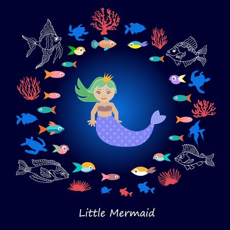 Cartoon collection for children books, cards, textile design and other decorations. Beautiful girl, fishes and corals in the sea. Stock Illustratie