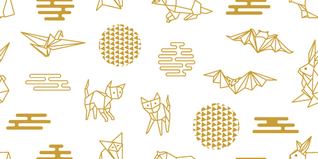 White and golden print of animals with Japanese and Chinese paper art motifs.