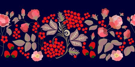 Seamless vector border with roses, strawberries, rowan and leaves on black background. Design for textile, cards, banners.