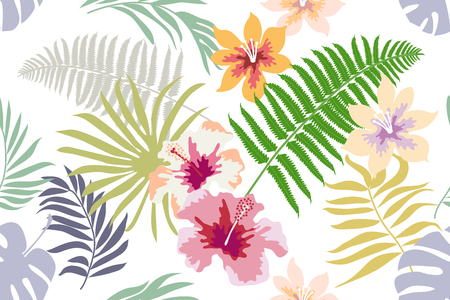 Seamless vector pattern with tropical motifs and exotic plants.
