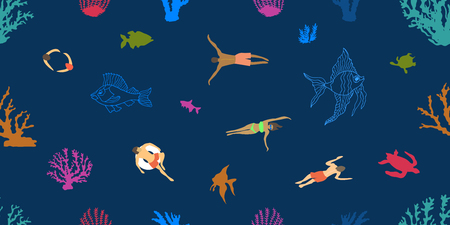People swimming in the sea with corals and fishes. Seamless vector pattern with Hawaiian motifs.