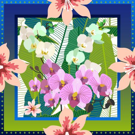 Pañuelo de seda cuadrado con orquídeas, hojas de palma y flores sobre fondo verde.