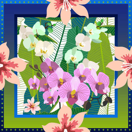 Squared silk scarf with orchids, palm leaves and blooming flowers on green background. Illustration