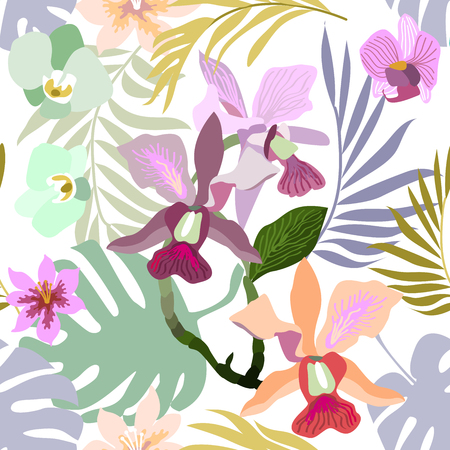 Seamless botanical pattern with tropical flowers and palm leaves. Trendy design for textile, cards and invitations.