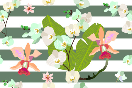 Trendy stripped pattern with blooming orchids and tropical leaves.