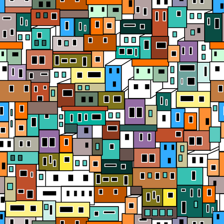 Seamless vector background with Brazilian favela.