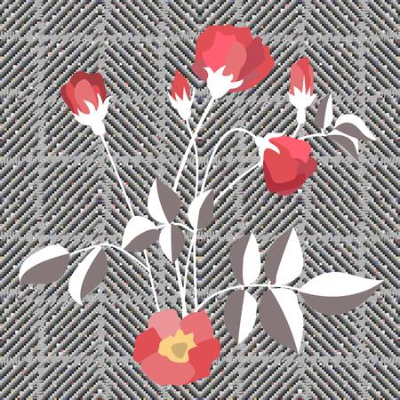 Seamless tweed pattern with English motifs. Textile design for school uniform, plaids, scarfs. Bright flower on grey background.