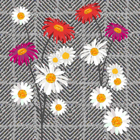 Seamless hounds tooth pattern with English motifs. Textile design for school uniform, plaids, scarfs. Red and white flower on grey background.