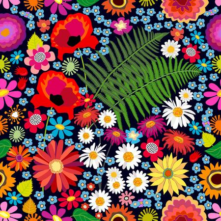 Modèle vectorielle continue avec différents éléments floraux. Chrysanthèmes, asters, camomilles, fougères, fleurs sauvages sur fond marron. Collection textile vintage.