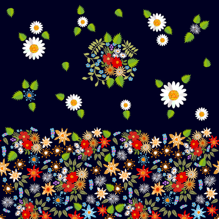 Colorful chamomiles and wildflowers on black background.