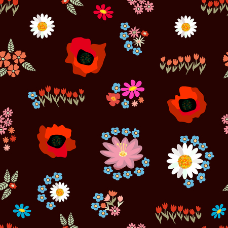 Seamless vector pattern with different floral elements. Tulips, poppies, chamomiles on brown background. Japanese, Chinese, Korean motifs. Vintage textile collection.