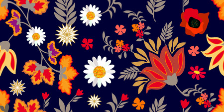 Seamless floral pattern with abstract flowers and leaves on black background.