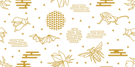 Seamless vector pattern with butterflies, bees, beetles, flies and abstract geometric elements. White and golden print with Japanese and Chinese paper art motifs. Illustration