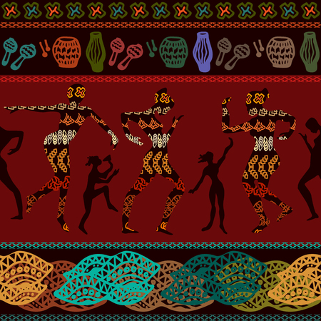 Seamless vector border with dancing people. Trendy ethnic design witn African art motifs for textile, cards, covers.