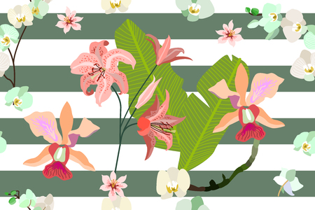 Trendy stripped pattern with blooming orchids, lilies and leaves. Illustration
