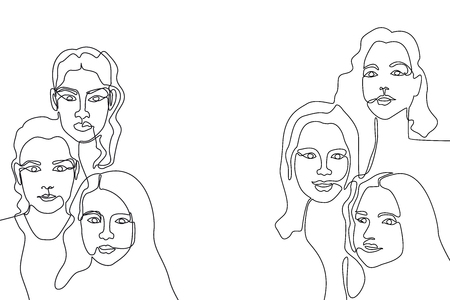 Linear women faces. Design fora cards, covers, posters.