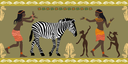 Dancing girls, zebra and ethnic ornaments. Trendy design witn African motifs for textile, cards, covers.
