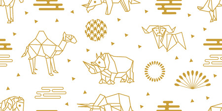 Seamless vector pattern with elephants, horses, rhinoceroses and abstract geometric elements. White and golden print with Japanese and Chinese paper art motifs. 向量圖像