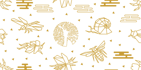 Seamless vector pattern with butterflies, bees, dragonflies, snails and abstract geometric elements. White and golden print with Japanese and Chinese paper art motifs. Vectores
