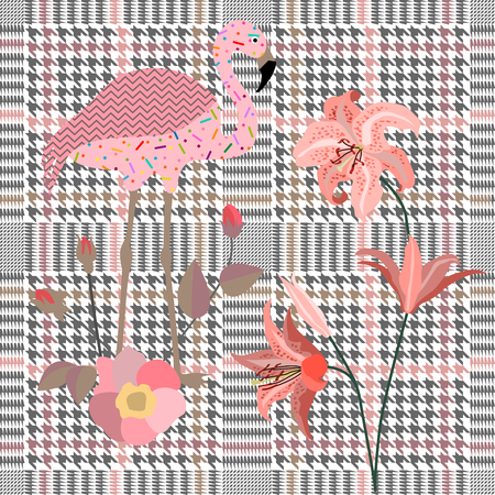 Seamless hounds tooth pattern with English motifs. Textile design for school uniform, plaids, scarfs. Red flower on grey background.