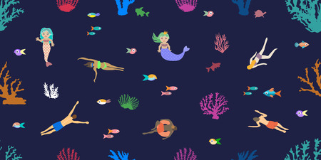 Seamless vector pattern with corals and fishes on dark blue background.