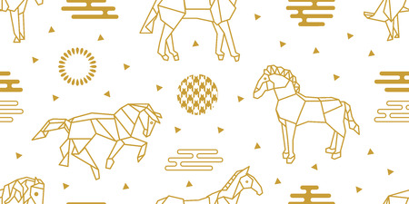 Seamless vector pattern with horses and abstract geometric elements. White and golden print with Japanese and Chinese paper art motifs.