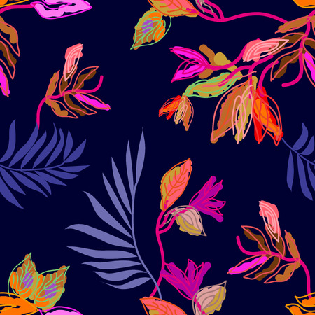 Seamless floral pattern with digital art elements. Palm leaves and exotic flowers.  Colorful on blue background.