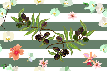 Seamless vector pattern with olives branches and orchids on stripped background. Retro textile collection.