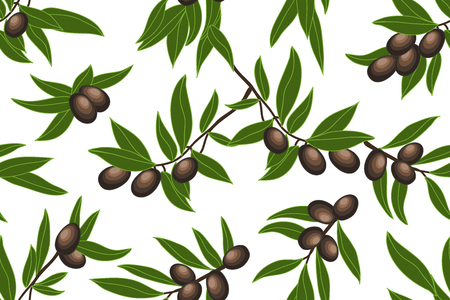 Seamless floral pattern with olive branches on dark green background.