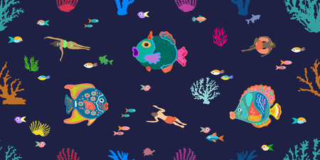 Seamless vector pattern with variety of fishes and corals in the sea on dark blue background.