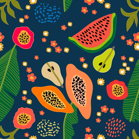 Seamless botanical print with watermelon, papaya and pears on contrast background. Retro textile collection. Vectores