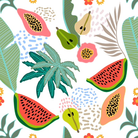 Seamless botanical print with watermelon, papaya and pears on contrast background. Retro textile collection. Illustration