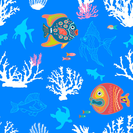 Seamless vector pattern with colorful fishes, tortillas and corals on blue background. Marine textile collection.