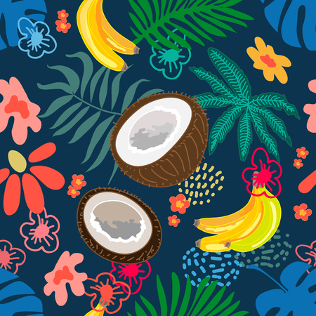 Seamless botanical pattern with exotic flowers, coconuts and bananas inspired by 1950s-1960s design. Retro textile collection. On white background.